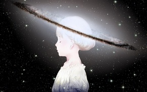 universe, space, stars, white hair