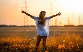 girl outdoors, model, blonde, field, girl, see