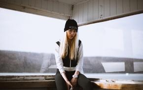 blonde, portrait, girl, sitting