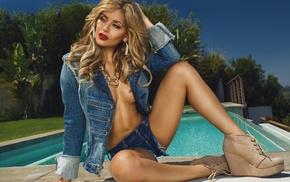 swimming pool, spread legs, Clif Ellis, platform shoes, looking away, red lipstick