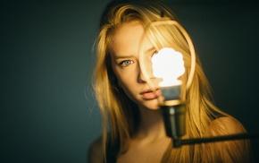 portrait, simple background, lights, girl, face, blonde