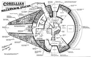Millennium Falcon, monochrome, blueprints, Star Wars
