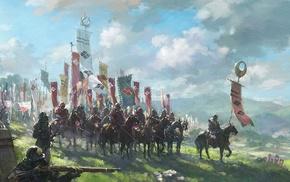 battle, armor, Japan, war horse, flag, war