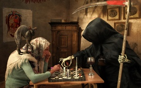 chess, old people, death, artwork, babushka, Grim Reaper