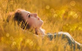 field, girl outdoors, model, girl