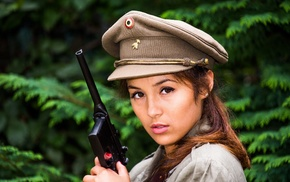 hat, model, gun, girl, uniform, Mauser C96