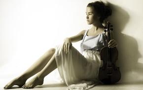 violin, model, sitting, girl