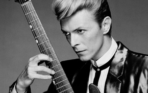 guitar, monochrome, musician, David Bowie, suits