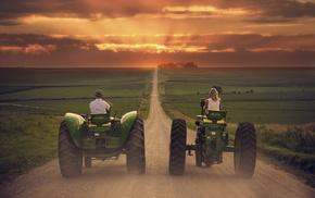 tractors, landscape, vehicle, field