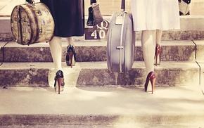 high heels, girl, suitcase