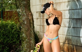 blonde, bikini, girl, baseball caps, model, hat