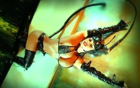 girl, fake  breasts, big boobs, latex, Catwoman, model
