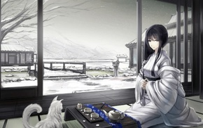 snow, original characters, traditional clothing, cat, Japanese clothes, Asian architecture