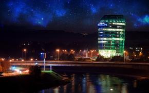 space, city, photo manipulation, Vilnius, long exposure, nebula
