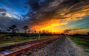 HDR, railway, sunset