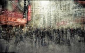 long exposure, motion blur, photography, architecture, crowds, building