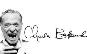 Charles Bukowski, old people, face, shirt, white background, writers