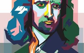 artwork, digital art, face, Isaac Newton, portrait, physics