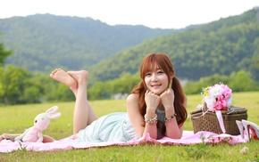 flowers, Asian, girl, smiling, legs up, girl outdoors