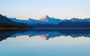 lake, reflection, landscape, mountains, mount Cook