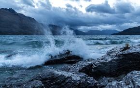 mountains, coast, water, waves, stone