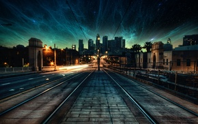 space, city, evening, stars, photo manipulation, nebula