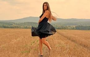 field, model, girl outdoors, girl