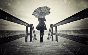 rain, umbrella, trench coat, girl, model, girl outdoors