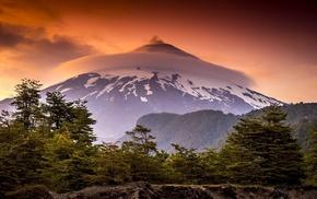 sky, orange, nature, mountains, clouds, sunset