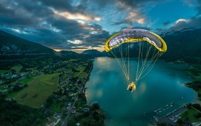 lake, clouds, field, France, paragliding, nature