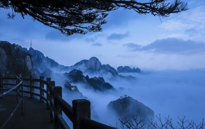nature, mountains, mist, morning, walkway, blue