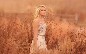 girl, girl outdoors, field, model