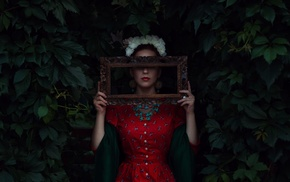 girl, fantasy art, picture frames