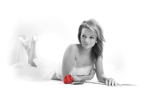 flowers, selective coloring, girl, rose, model