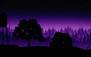 artwork, stars, forest, silhouette