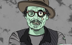 Johnny Depp, hat, glasses, dead, zombies