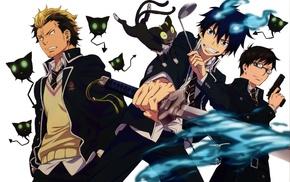 anime, Blue Exorcist, Suguro Ryuji, Okumura Rin, Okumura Yukio, anime boys