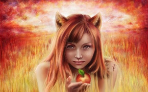 apples, fantasy art, artwork, girl