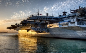 sunset, ship, sea, aircraft carrier, military base, military aircraft