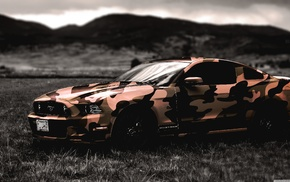 camouflage, army, Ford, Ford Mustang, car