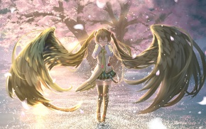skirt, anime girls, thigh, highs, Vocaloid, wings
