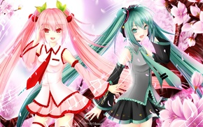 Vocaloid, Hatsune Miku, anime girls, anime, cherry blossom, twintails