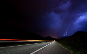 lightning, road, night, photography, nature, long exposure
