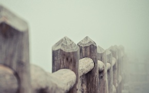 photography, nature, mist, fence, depth of field, wood