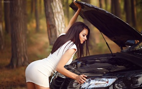 white dress, trees, girl with cars, girl, model, ass