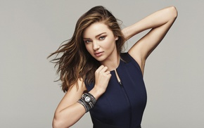 Miranda Kerr, model, arms up, girl, auburn hair, jewelry