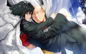 Saitama, clouds, anime, cape, One, Punch Man