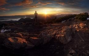 mountains, Slovakia, sunset, men, panorama, mist