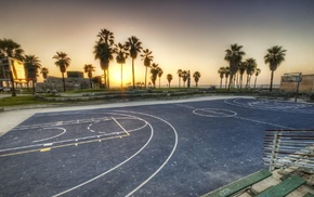 sunset, basketball court, basketball, sports, sport