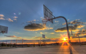 basketball court, sport, sports, sunset, basketball